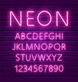 glowing ultra violet neon character font vector image