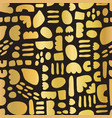 gold foil mosaic doodle shapes on black seamless vector image vector image