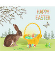 happy easter spring landscape forest hare vector image