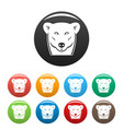head female polar bear icons set color vector image vector image