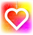 Heart applique on colorful bright background vector image