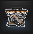 Hockey goalkeeper emblem vector image