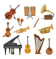 icons set of musical instruments vector image vector image