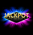 jackpot shiny gold casino lotto label with neon vector image vector image