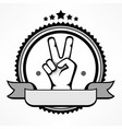 label with victory gestures vector image vector image