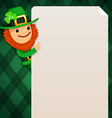 leprechaun looking at blank poster green vector image vector image