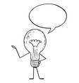 light bulb cartoon character with speech bubble vector image