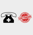 medical phone icon and distress clinic vector image vector image