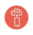 Mobile phone with weather forecast thin line icon vector image