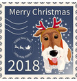 postage stamp with the fox terrier 2 vector image vector image