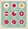 Retro set of food pictogram icons and symbols vector image vector image