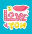 romantic love patch in doodle style vector image vector image