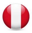 Round glossy icon of peru vector image vector image