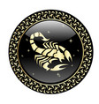 scorpio zodiac sign in circle frame vector image