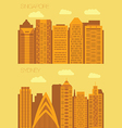 Set 2 flat background city Singapore and Sydney vector image vector image