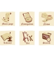set antique parchment icons vector image vector image