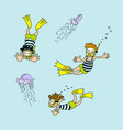 set of cartoon swimmers and jellyfishes vector image vector image