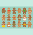 set of different gingerbread man vector image vector image