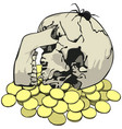 skull with spider and coins vector image