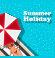 summer holiday banner with girl sunbathing vector image vector image