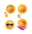 sun smiles or summer cartoon emoticons and happy vector image