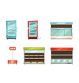 Supermarket Displays Racks Shelves Icons Set vector image