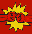 two clenched fists bumping together vector image