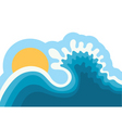 wave in oceanwater background for surfing with sun vector image vector image