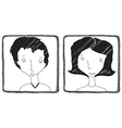 Woman and man hand drawn avatar isolated on white