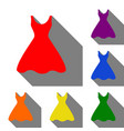 woman dress sign set of red orange yellow vector image