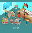 Workplace Canteen Lunch Isometric Poster vector image vector image
