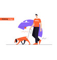 young smiling man walking a dog on a leash flat vector image