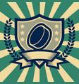 retro hockey puck sport emblem vector image