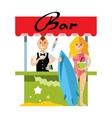 Beach bar Flat style colorful Cartoon vector image