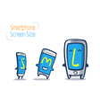 cartoon of smart phone size comparison vector image