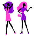 Retro girls silhouette isolated on white vector image