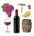 Wine set of bottle glass barrel grapes cheese vector image