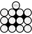 2013 black circles calendar for office vector image vector image