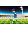 a soccer player at field with flag of vector image vector image