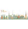 Abstract Tallinn Skyline with Color Buildings vector image vector image