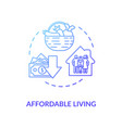 affordable living blue concept icon