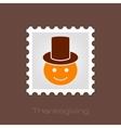 American Pilgrim children stamp Thanksgiving day vector image vector image