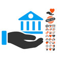 bank building service hand icon with love bonus vector image