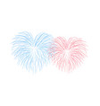 beautiful heart-fireworks couple romantic salute vector image vector image