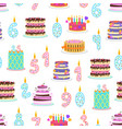 cartoon color birthday cakes and elements seamless vector image vector image