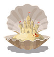 cartoon island with a sand castle in seashell vector image vector image