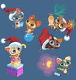 cartoon set little kittens playing vector image vector image