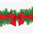 christmas 3d realistic pine branches with vector image