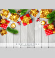 christmas template with decorations branches ate vector image vector image