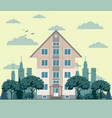 company building in flat style vector image